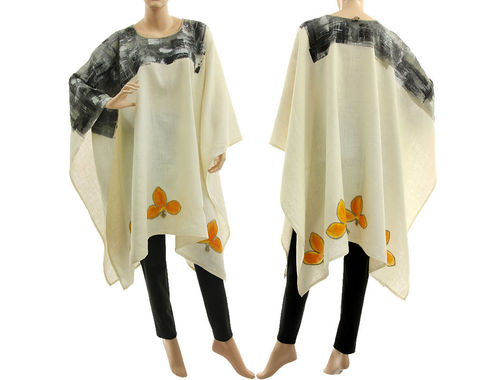 Artsy boho hand painted linen poncho cover caftan in ecru S-XXL