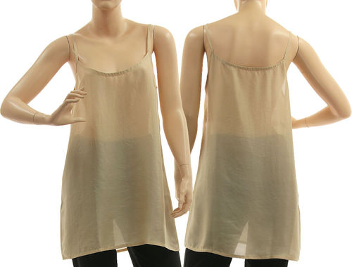 Slip top, strappy tank top, lingerie top, summer top, pure silk in beige M