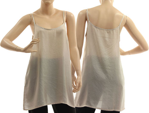 Slip top, strappy tank top, lingerie top, summer top, pure silk in grey L-XL