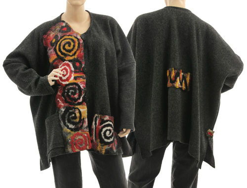 Boho artsy jacket with merino felt, boiled wool in grey XL-XXL