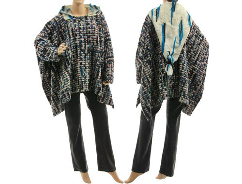 Lagenlook hooded poncho sweater, wool in teal white grey with felt  M-XXL