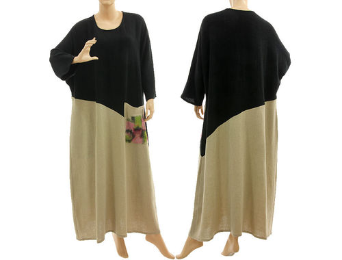 Fall winter maxi dress hand painted, linen crepe in black natural L-XXL