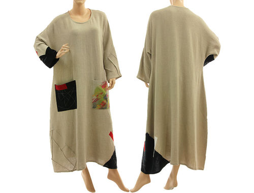 Fancy fall winter maxi dress, linen crepe in natural M-XL