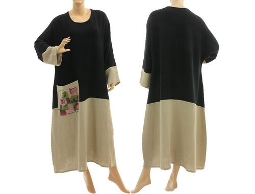 Fall winter maxi dress hand painted, linen crepe in black natural M-XL