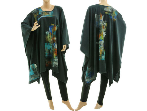 Hand painted lagenlook wool poncho cover in dark teal S-XXL