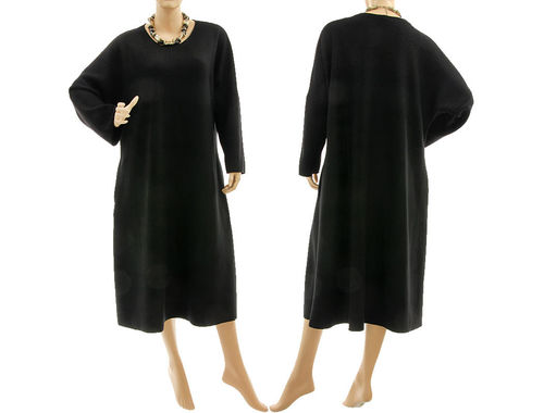 Stylish fall winter dress fine merino wool in black L-XL