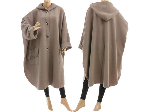 Boho roomy hooded fall winter coat, boiled felted wool in beige L-XXL