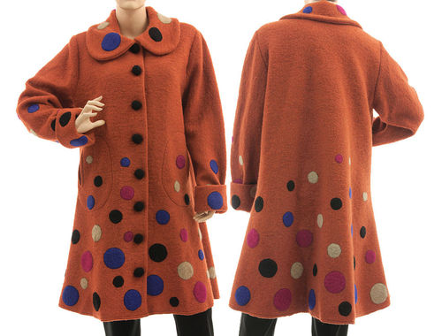Boho flared coat with polka dots, boiled wool in rust M-L