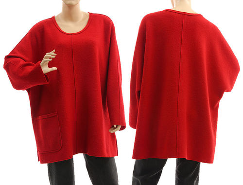 Oversized batwing tunic sweater, boiled felted merino wool in red L-XXL
