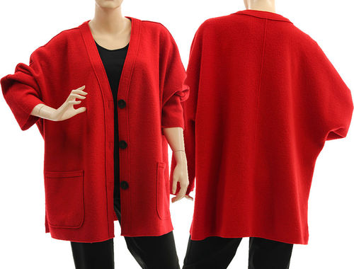 Oversized batwing V-neck jacket, boiled felted merino wool in red L-XXL