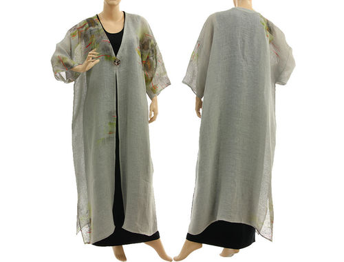 Boho linen gauze maxi coat duster hand painted, in pale grey L-XXL