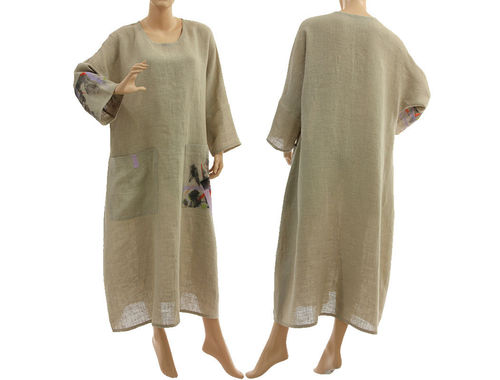 Fancy oversized maxi linen dress linen in natural L-XL
