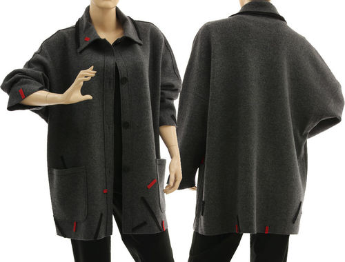 Oversized jacket, boiled felted extra fine merino wool in grey with black and red L-XL