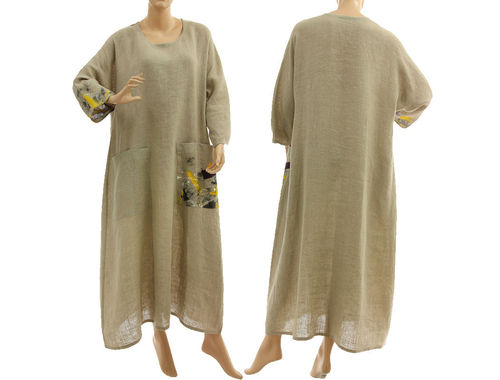 Oversized batwing maxi linen dress linen in natural L-XL