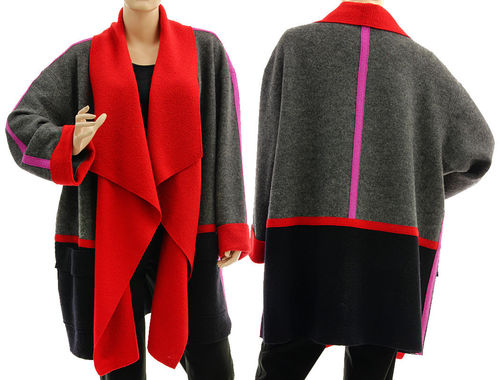 Lagenlook wrap jacket waterfall collar, merino wool in grey black red L-XXL