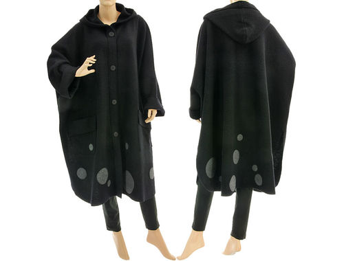 Boho lagenlook hooded spring fall coat, boiled felted wool in black M-XL