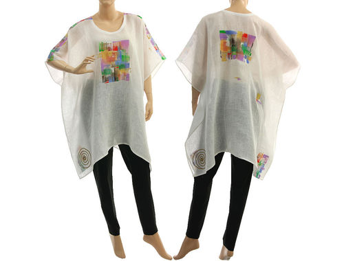 Boho summer hand painted tunic linen gauze in white S-XXL
