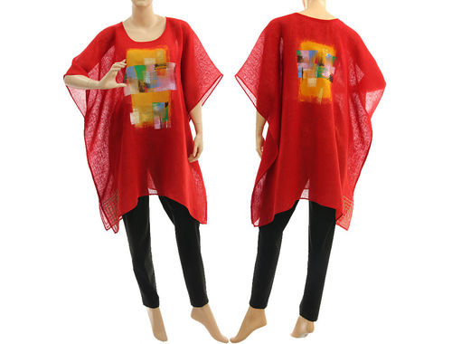 Boho summer hand painted tunic linen gauze in red S-XXL