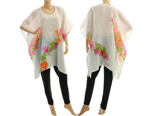 Boho hand painted summer tunic linen gauze in white S-XXL