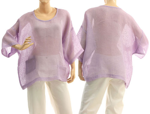 Lagenlook summer tunic with pockets linen gauze in lilac S-L