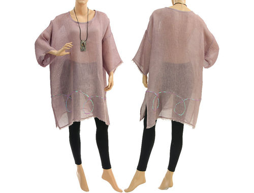 Boho summer tunic, beach dress with sequins, linen gauze in mauve S-XL