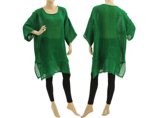 Boho summer tunic, beach dress with fringes, linen in green S-L