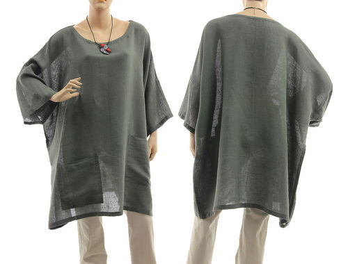 Boho tunic with pockets, linen-cotton gauze in grey L-XXL