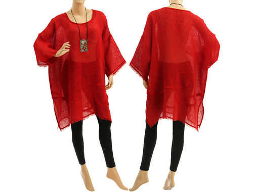 Boho summer tunic, beach dress with fringes, linen in red M-XXL
