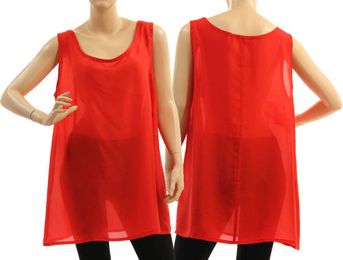 Slip top, tank top, lingerie top, summer top, pure silk in red L-XL