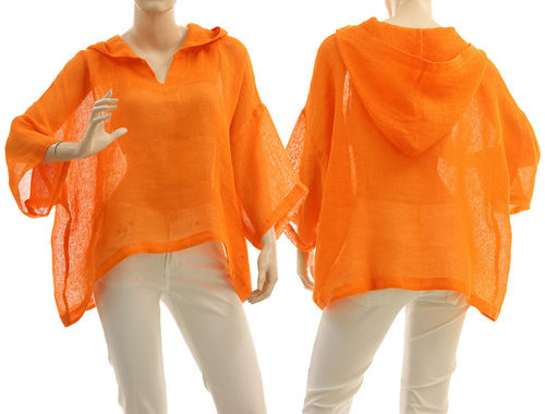 Lagenlook hooded summer tunic linen gauze in orange S-XL