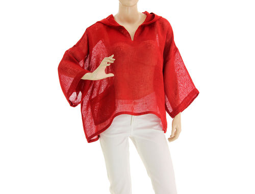 Lagenlook hooded summer tunic linen gauze in red S-L