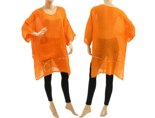 Boho linen tunic, beach dress with pocket and sequins, in orange S-XL