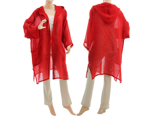 Lagenlook linen gauze hooded jacket duster, in red S-XL