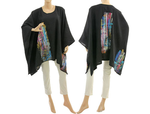 Artsy boho hand painted linen poncho cover up in black S-XXL