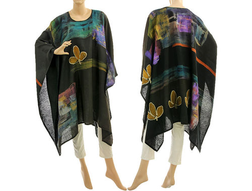 Boho hand painted linen poncho cover in black brown-black M-XXL