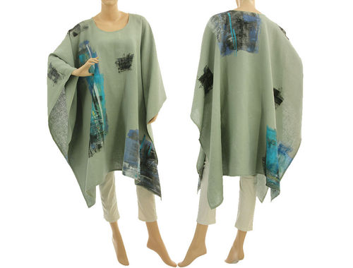 Boho hand painted linen poncho cover up in mint green S-XXL