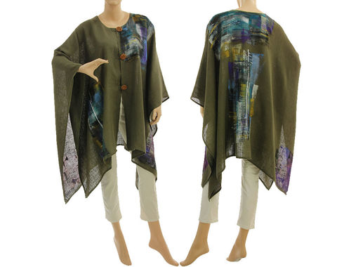 Boho buttoned linen poncho cover up hand painted in khaki green S-XXL