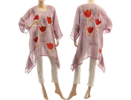 Boho hand painted mauve linen gauze tunic with red tulips M-XL