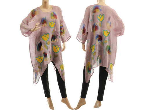 Boho hand painted mauve linen gauze tunic with yellow tulips M-XXL