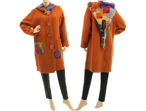 Boho lagenlook coat with felted hood, boiled wool in rust S-M