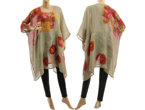 Boho hand painted linen gauze tunic in natural red M-XXL