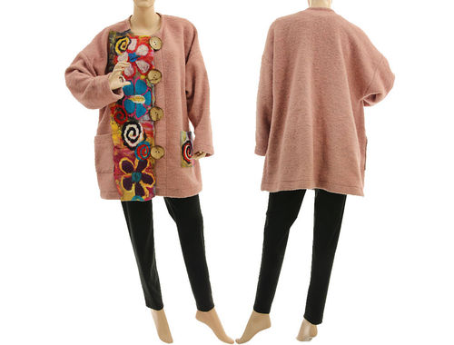 Boho lagenlook jacket with felt, boiled wool in powder L-XL