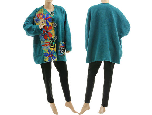 Boho lagenlook jacket with felt, boiled wool in teal XL-XXL