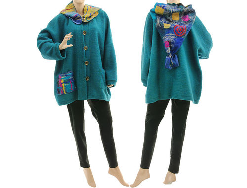 Boho lagenlook jacket with felted hood, boiled wool in teal XL-XXL