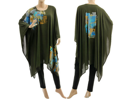 Stylish hand painted evening party poncho cover-up in dark khaki S-XL