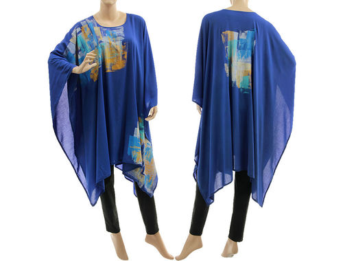 Stylish hand painted evening party poncho cover-up in cobalt blue S-XL