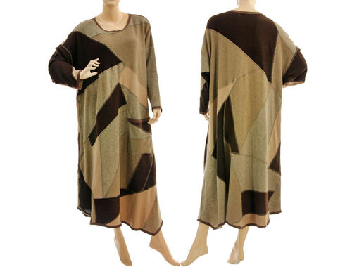 Maxi knitted sweater dress, soft wool patchwork in beige brown XL-XXL