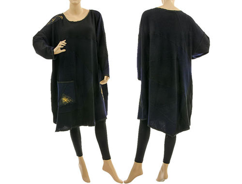 Oversized knitted sweater dress, soft wool patchwork in black navy L-XL