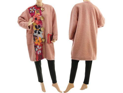 Boho lagenlook coat with felt, boiled wool in powder L-XL