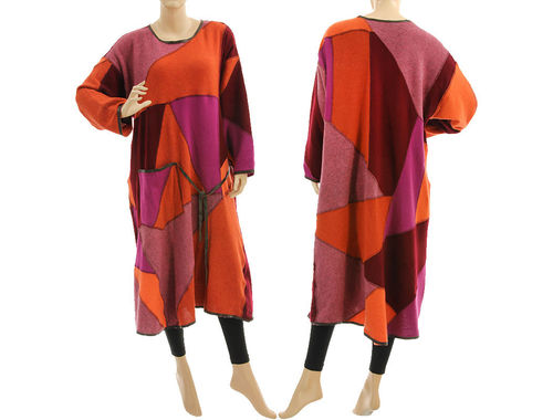 Knitted sweater dress, soft wool patchwork in rust burgundy pink L-XL